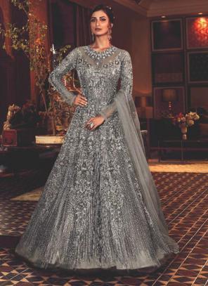 Grey Net Wedding Wear Heavy Embroidery Work Anarkali Suit