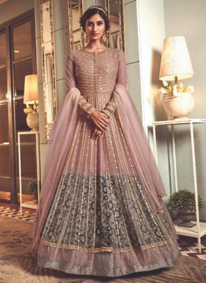 Light Pink Net Wedding Wear Heavy Embroidery Work Anarkali Suit