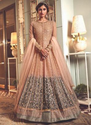 Peach Net Wedding Wear Heavy Embroidery Work Anarkali Suit