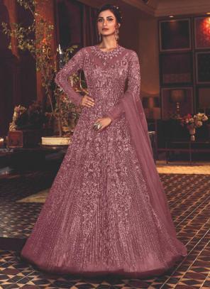 Pink Net Wedding Wear Heavy Embroidery Work Anarkali Suit