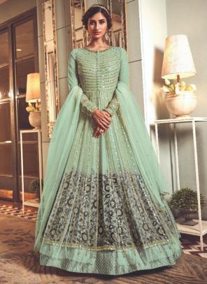 Pista Green Net Wedding Wear Heavy Embroidery Work Anarkali Suit