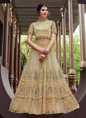 Cream Net Reception Wear Heavy Embroidery Work Anarkali Suit