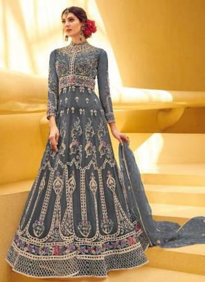 Dark Grey Net Reception Wear Heavy Embroidery Work Anarkali Suit