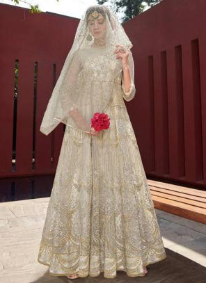 White Net Reception Wear Heavy Embroidery Work Anarkali Suit