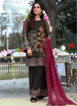 Black Faux Georgette Festival Wear Embroidery Work Pakistani Suit