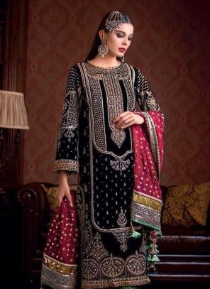 Black Velvet Festival Wear Embroidery Heavy Work Pakistani Suit