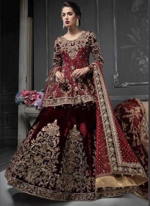 Maroon Fancy Silk Festival Wear Embroidery Work Pakistani Suit