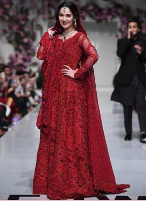 Red Net Festival Wear Embroidery Work Pakistani Suit