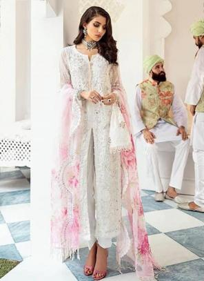 White Net Festival Wear Embroidery Work Pakistani Suit