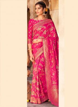 Pink Rani Pure Satin Party Wear Weaving Saree