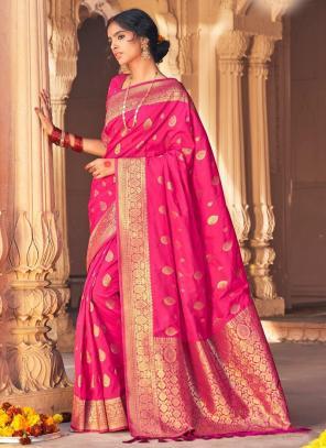 Rani Pure Satin Party Wear Weaving Saree