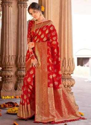 Red Pure Satin Party Wear Fancy Weaving Saree