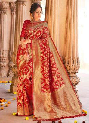 Red Pure Satin Party Wear Heavy Weaving Saree