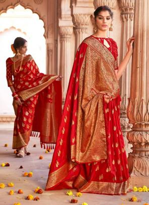 Red Pure Satin Party Wear Zari Weaving Saree