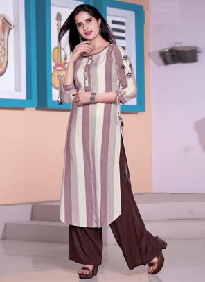 Brown Viscose Daily Wear Embroidery Work Kurti