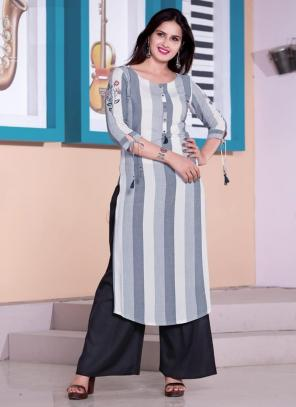 Grey Viscose Daily Wear Embroidery Work Kurti