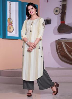 Off White Viscose Daily Wear Embroidery Work Kurti