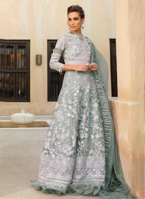 Grey Net Georgette Party Wear Hand Work Pakistani Suit