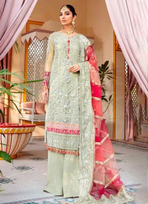 Pista Green Net Georgette Party Wear Hand Work Pakistani Suit