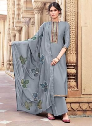 Beige Cotton Silk Festival Wear Embroidery Work Palazzo Suit