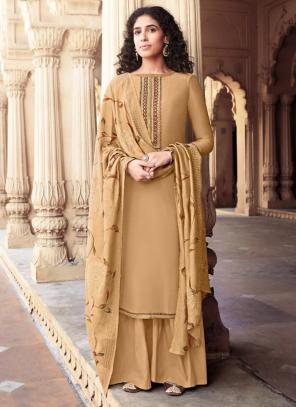 Grey Cotton Silk Festival Wear Embroidery Work Palazzo Suit