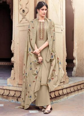 Light Brown Cotton Silk Festival Wear Embroidery Work Palazzo Suit