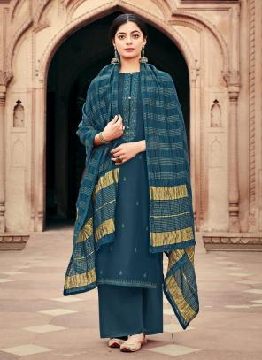Blue Viscose Muslin Traditional Wear Embroidery Work Palazzo Suit