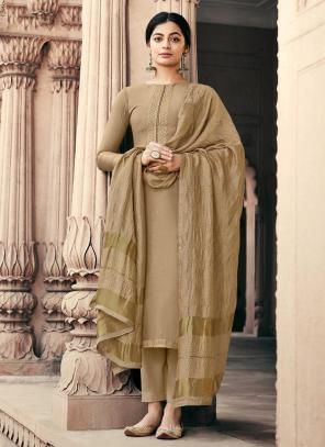 Peach Viscose Muslin Traditional Wear Embroidery Work Palazzo Suit