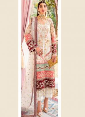 Cream Butterfly Net Wedding Wear Heavy Embroidery Work Pakistani Suit