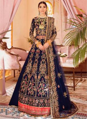 Navy Blue Butterfly Net Wedding Wear Heavy Embroidery Work Pakistani Suit