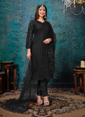 Black Net Festival Wear Embroidery Work Churidar Suit