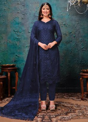 Navy Blue Net Festival Wear Embroidery Work Churidar Suit