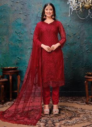 Red Net Festival Wear Embroidery Work Churidar Suit