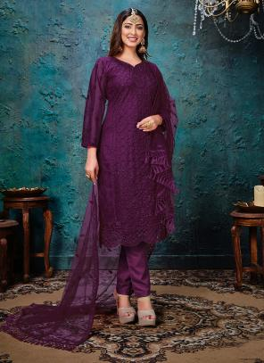 Wine Net Festival Wear Embroidery Work Churidar Suit