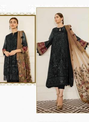Black Georgette Festival Wear Embroidery Work Pakistani Suit