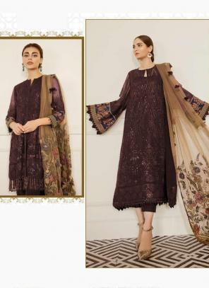 Brown Georgette Festival Wear Embroidery Work Pakistani Suit
