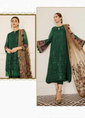 Dark Green Georgette Festival Wear Embroidery Work Pakistani Suit