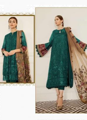 Green Georgette Festival Wear Embroidery Work Pakistani Suit