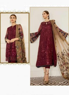 Maroon Georgette Festival Wear Embroidery Work Pakistani Suit