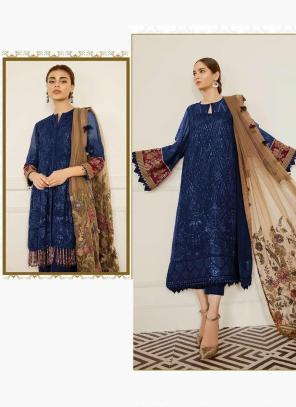 Navy Blue Georgette Festival Wear Embroidery Work Pakistani Suit
