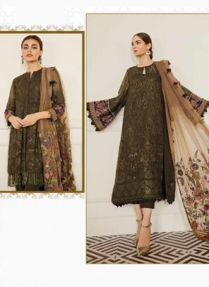 Olive Green Georgette Festival Wear Embroidery Work Pakistani Suit