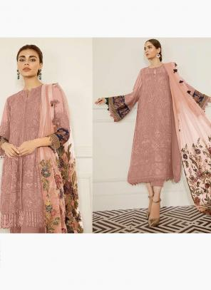 Rose Pink Georgette Festival Wear Embroidery Work Pakistani Suit