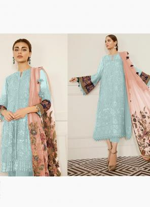 Sky Blue Georgette Festival Wear Embroidery Work Pakistani Suit