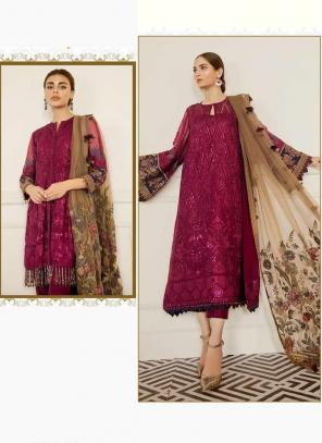 Wine Georgette Festival Wear Embroidery Work Pakistani Suit