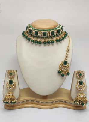 Green Heavily Traditional Chokar Necklace Set