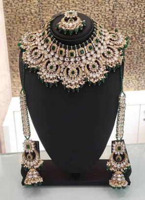 Dark Green Ethnic Designer Bridal Necklace Set