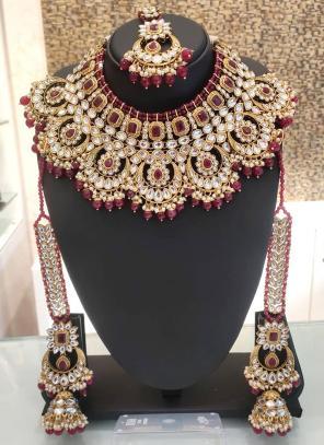Maroon Ethnic Designer Bridal Necklace Set