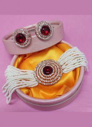 Maroon Alloy Party Wear Pearls Jewellery Set