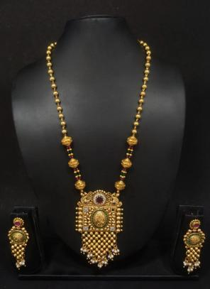 Designer Gold Polish Traditional Long Necklace Jewellery