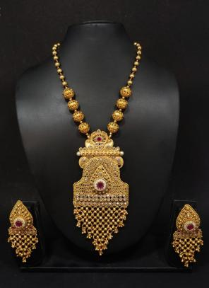 Gold Polish Diamond Work Traditional Long Necklace With Earrings